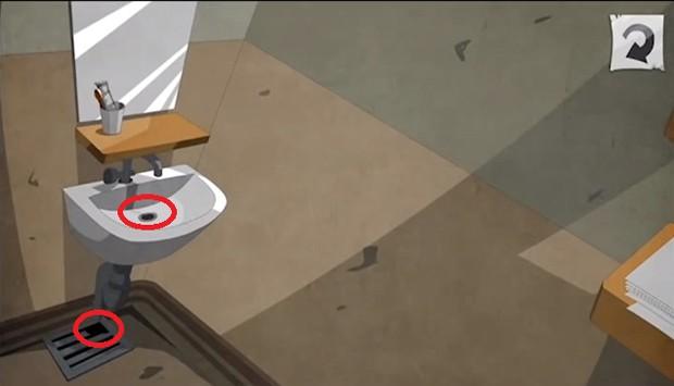 Внутри отверстия раковины находится ключ под раковиной пробка